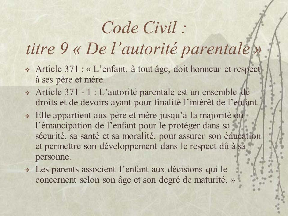 Code Civil : titre 9 « De l'autorité parentale »