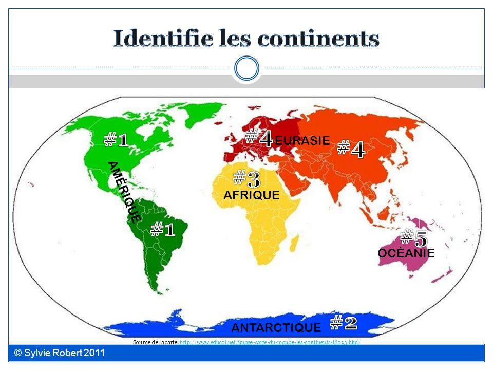 Identifie les continents