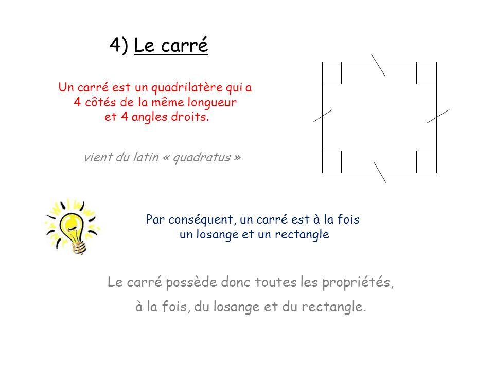 4) Le carré Le carré possède donc toutes les propriétés,