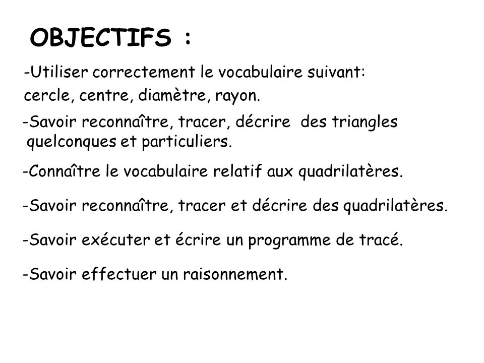 OBJECTIFS : Utiliser correctement le vocabulaire suivant: