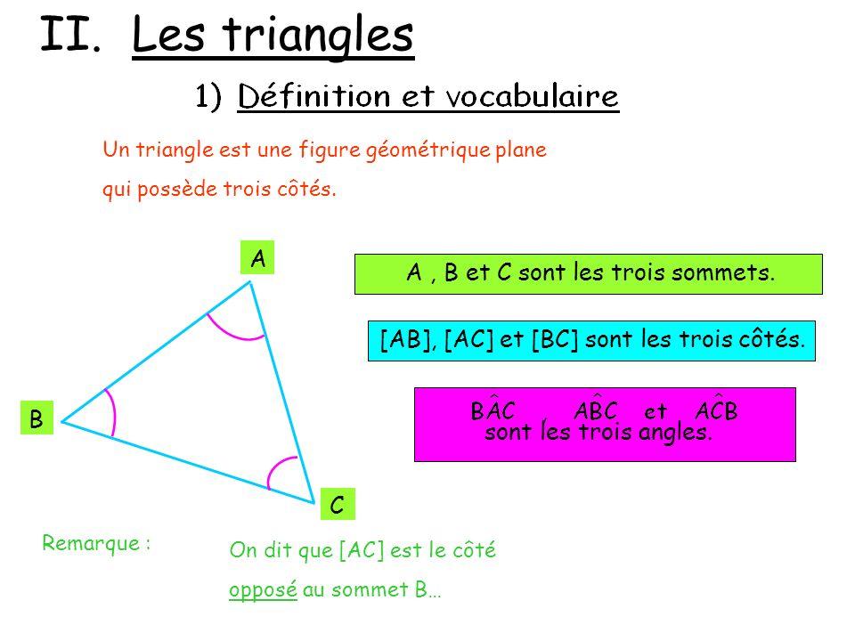 II. Les triangles A A , B et C sont les trois sommets. B C