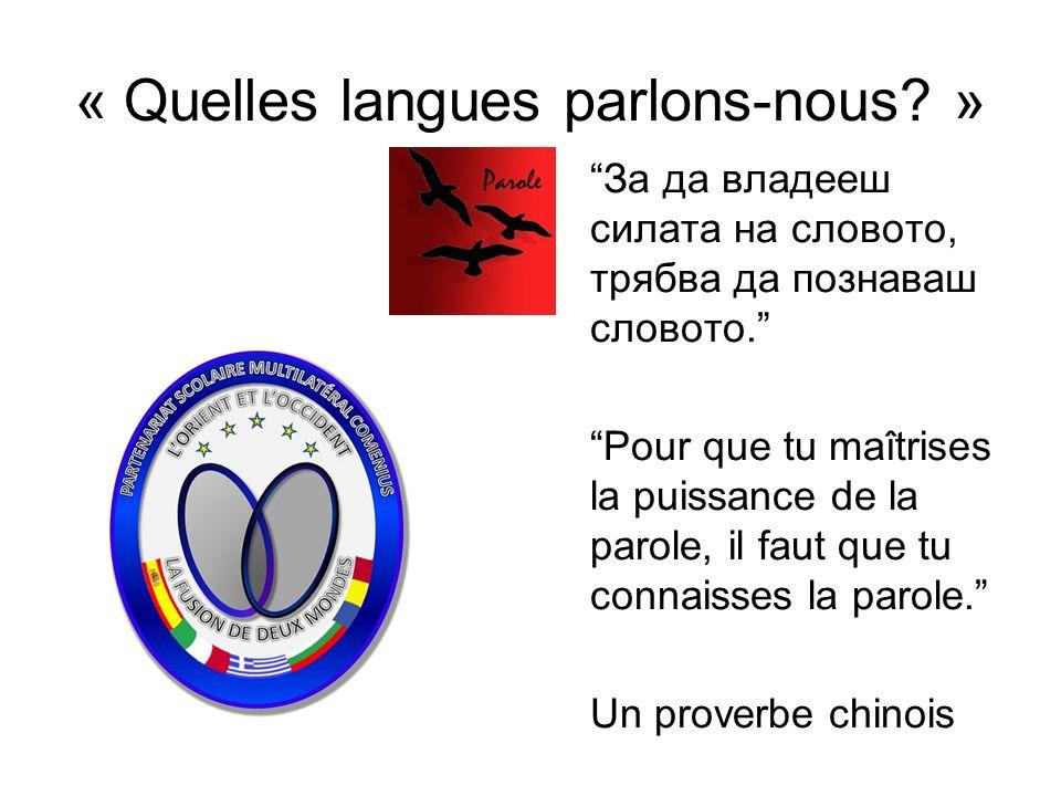 « Quelles langues parlons-nous »