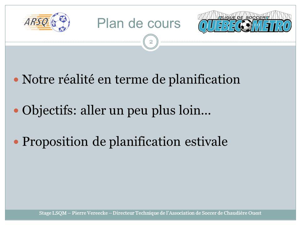 Plan de cours Notre réalité en terme de planification