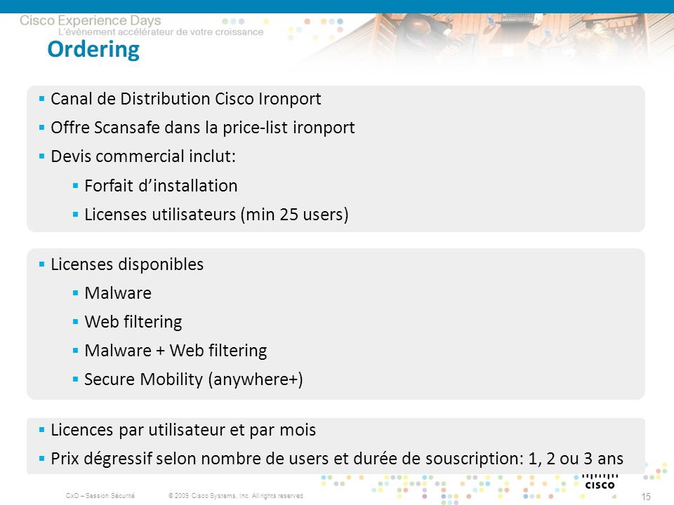 Ordering Canal de Distribution Cisco Ironport