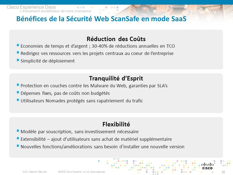 Bénéfices de la Sécurité Web ScanSafe en mode SaaS