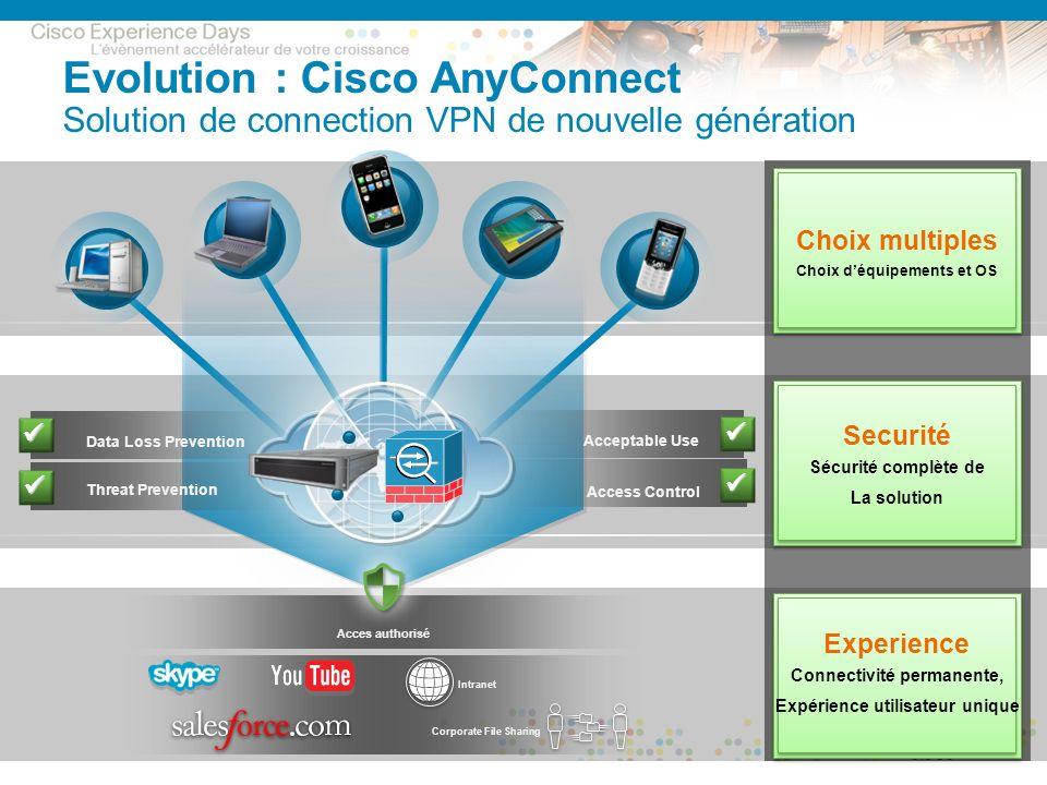Evolution : Cisco AnyConnect Solution de connection VPN de nouvelle génération