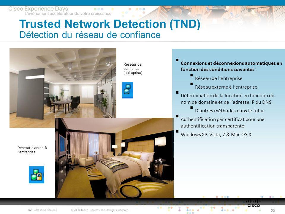Trusted Network Detection (TND) Détection du réseau de confiance