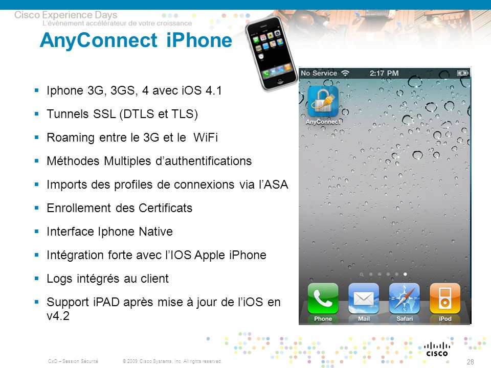 AnyConnect iPhone Iphone 3G, 3GS, 4 avec iOS 4.1