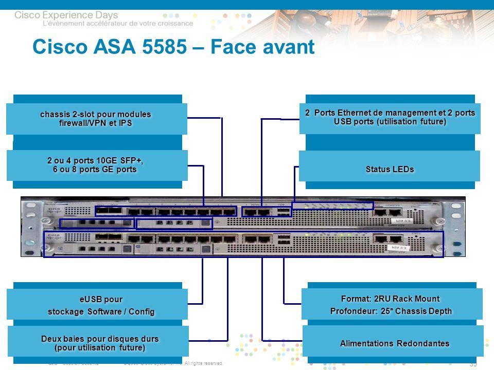 Cisco ASA 5585 – Face avant chassis 2-slot pour modules firewall/VPN et IPS. Format: 2RU Rack Mount Profondeur: 25 Chassis Depth.