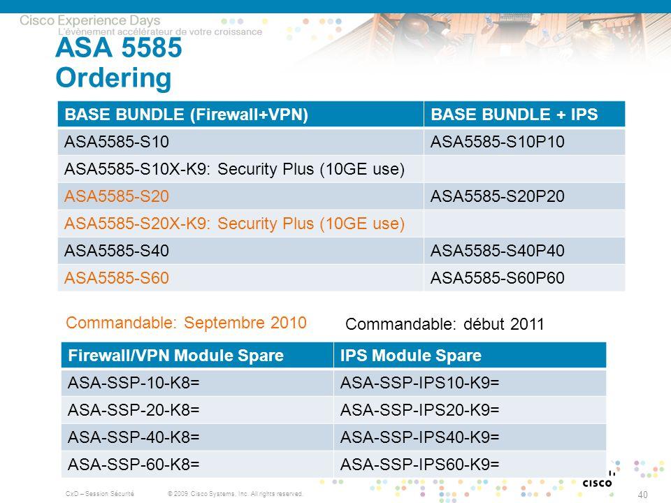 ASA 5585 Ordering BASE BUNDLE (Firewall+VPN) BASE BUNDLE + IPS