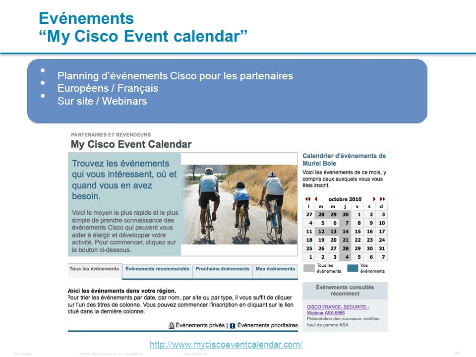 Evénements My Cisco Event calendar