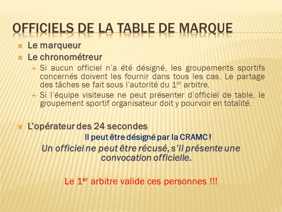 Officiels de la table de marque