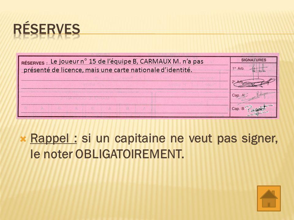Réserves Le joueur n° 15 de l'équipe B, CARMAUX M. n'a pas présenté de licence, mais une carte nationale d'identité.