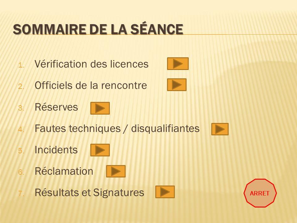 Sommaire de la séance Vérification des licences