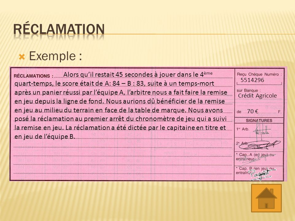 Réclamation Exemple :