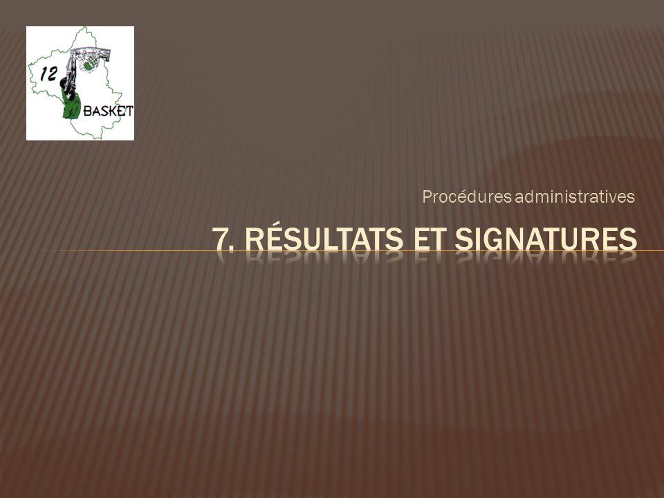 7. Résultats et signatures