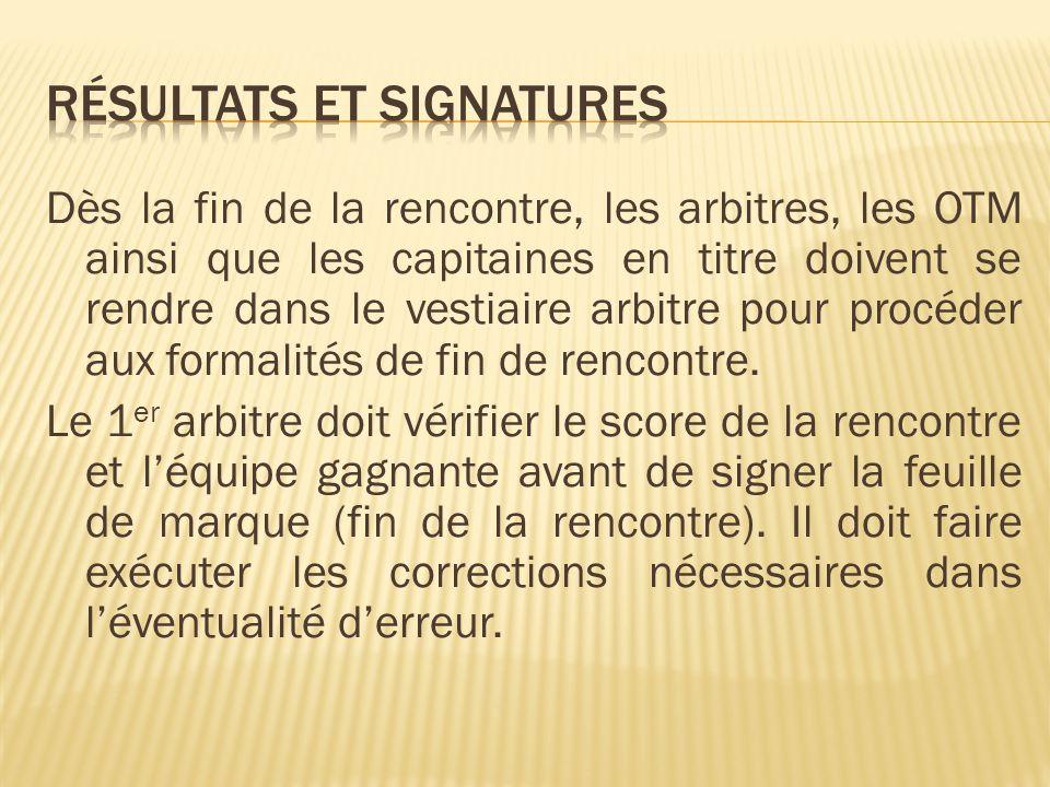 Résultats et Signatures