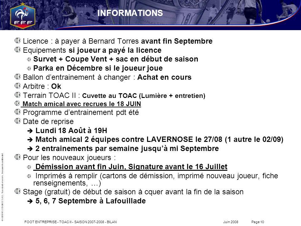 INFORMATIONS Licence : à payer à Bernard Torres avant fin Septembre