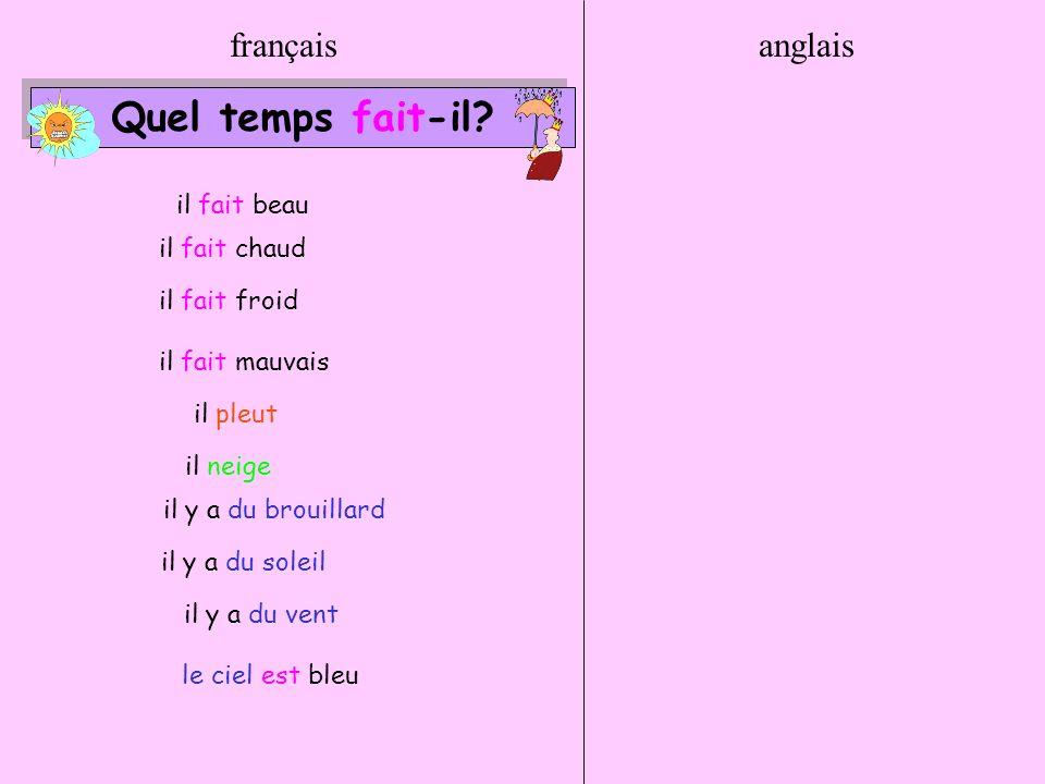 Quel temps fait-il français anglais il fait beau il fait chaud