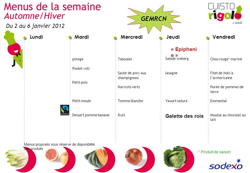 Du 2 au 6 janvier 2012 « Epiphanie » Galette des rois