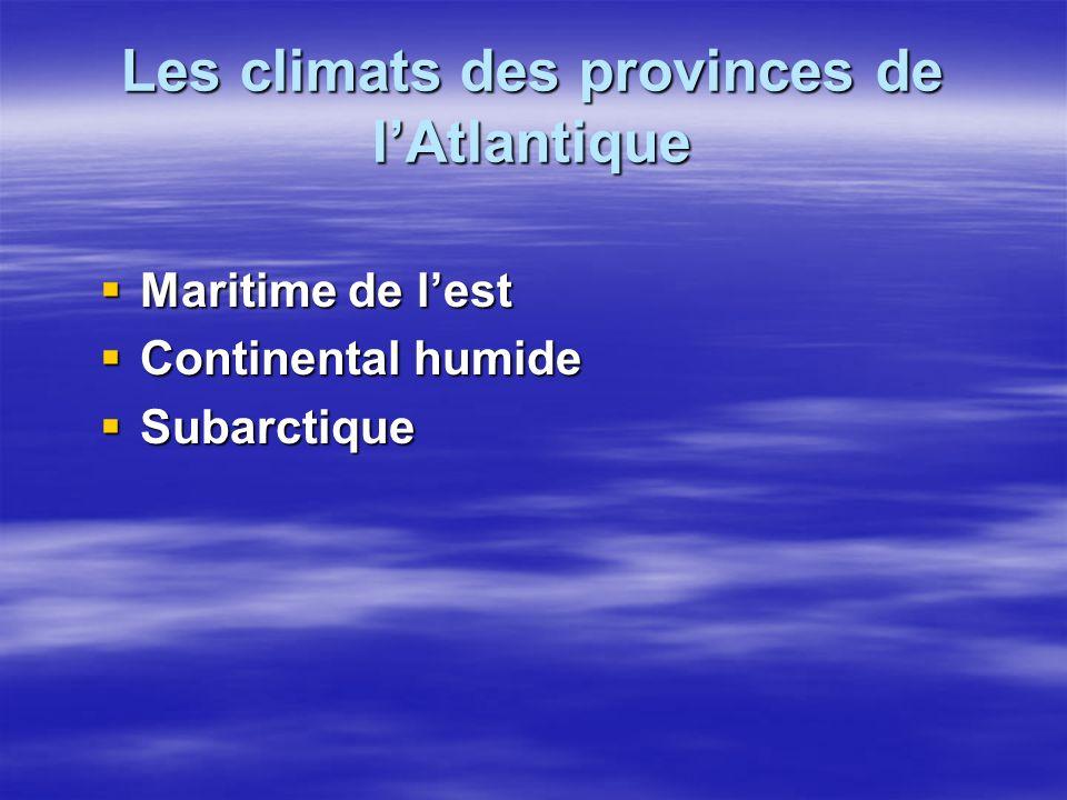Les climats des provinces de l'Atlantique