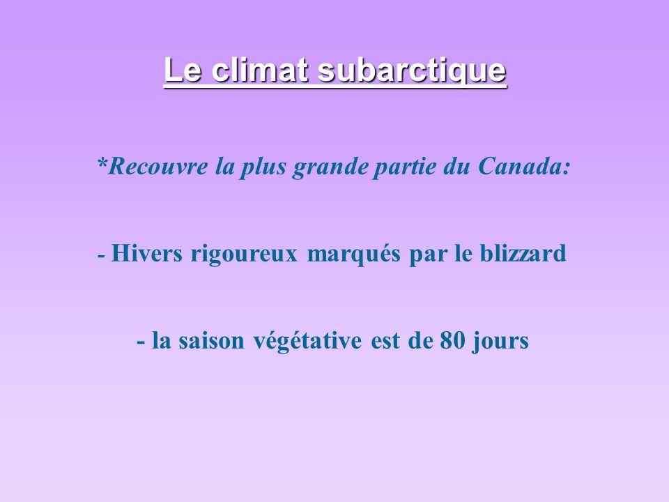 Le climat subarctique *Recouvre la plus grande partie du Canada: