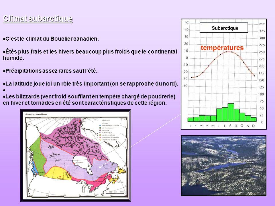 Climat subarctique températures C est le climat du Bouclier canadien.