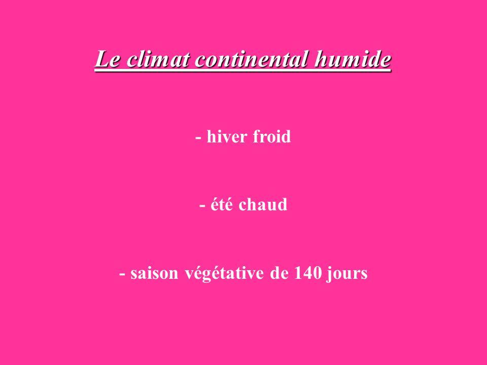 Le climat continental humide - saison végétative de 140 jours