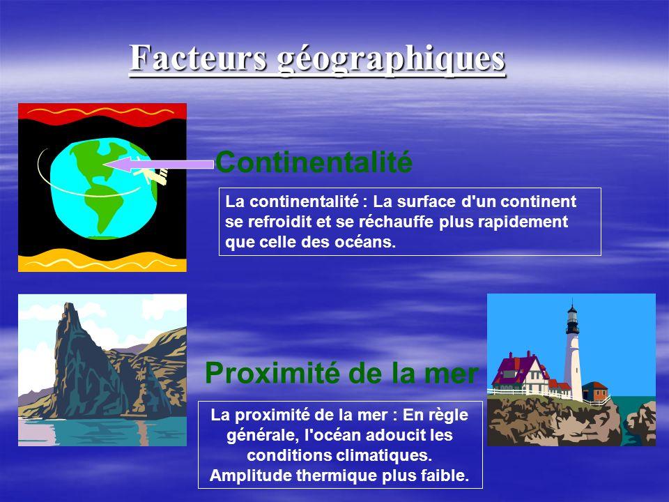 Facteurs géographiques Amplitude thermique plus faible.