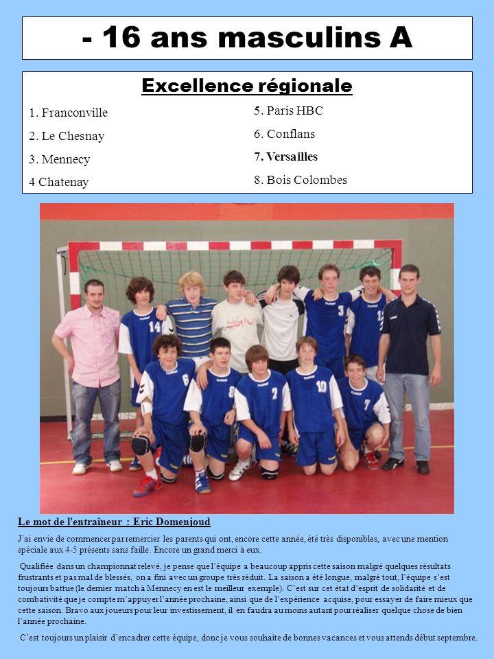 - 16 ans masculins A Excellence régionale 1. Franconville