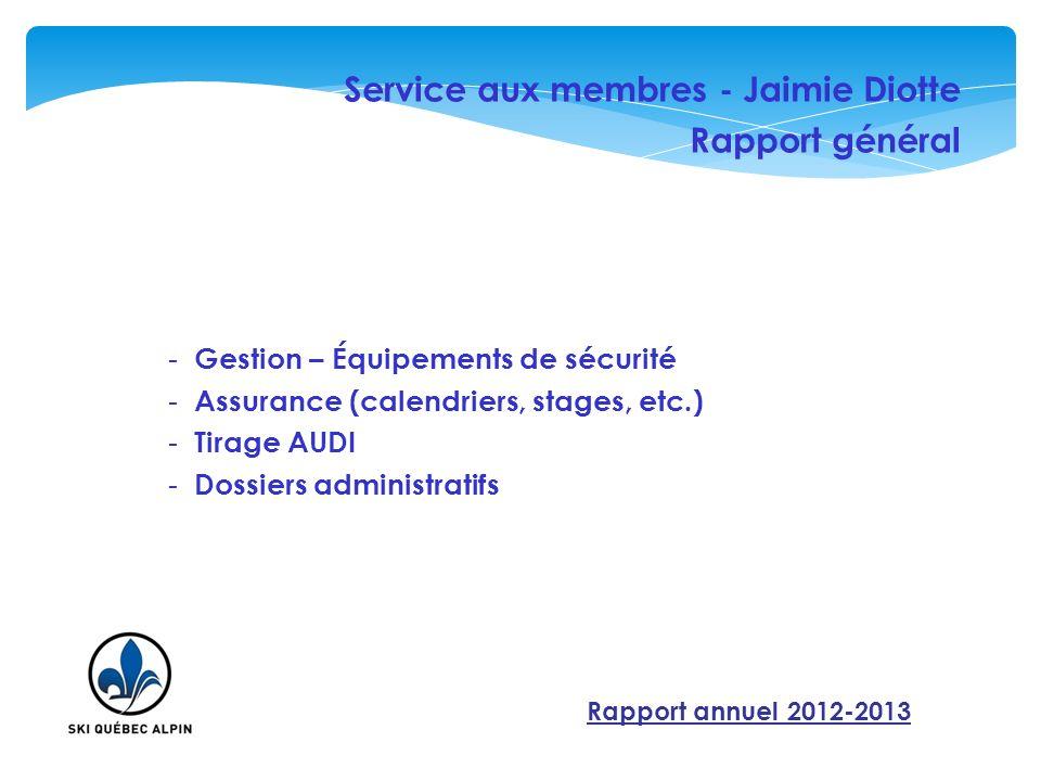 Service aux membres - Jaimie Diotte Rapport général