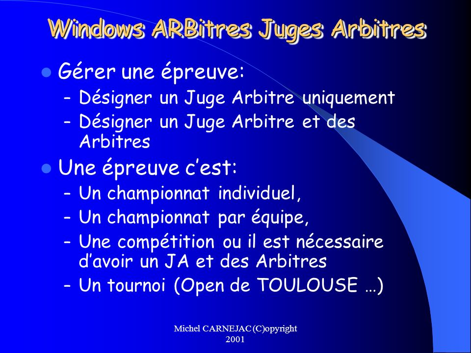 Windows ARBitres Juges Arbitres