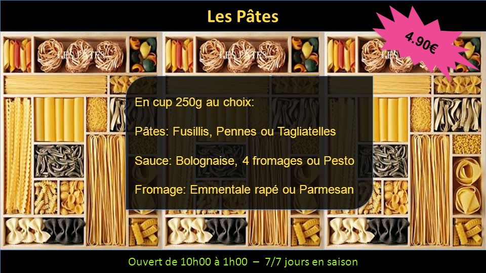 Les Pâtes 4.90€ En cup 250g au choix: