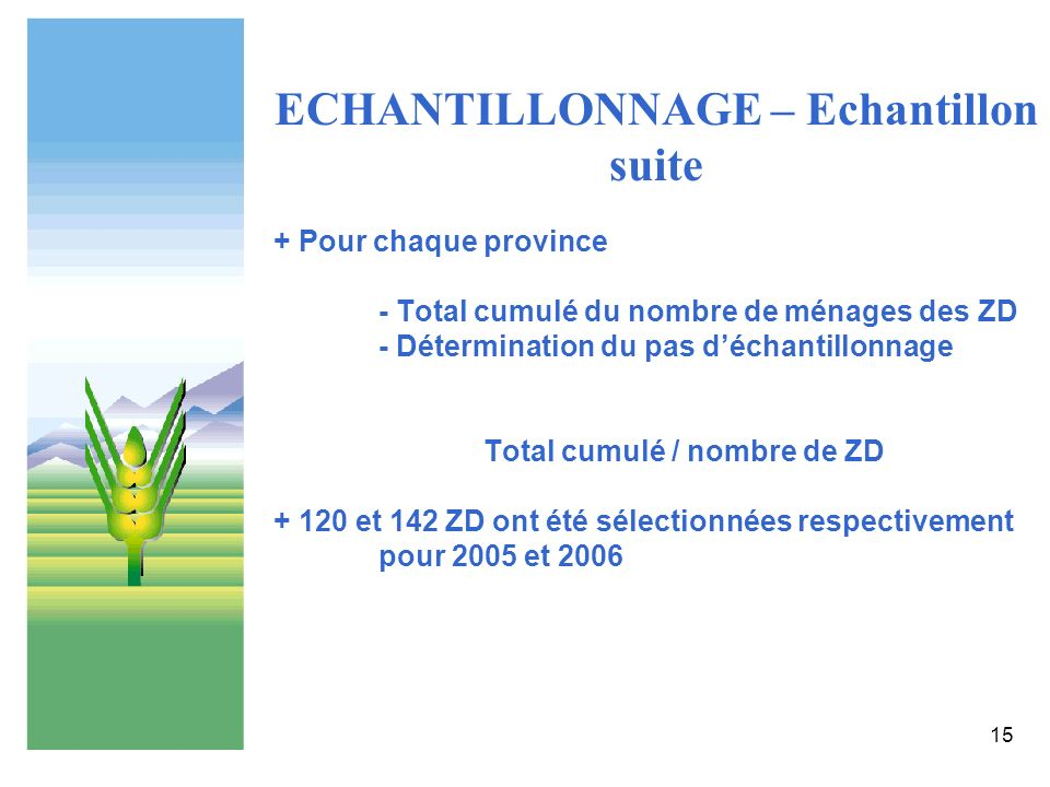 ECHANTILLONNAGE – Echantillon suite