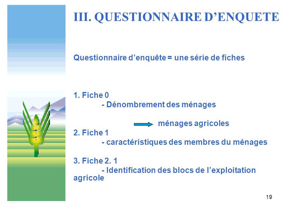 III. QUESTIONNAIRE D'ENQUETE