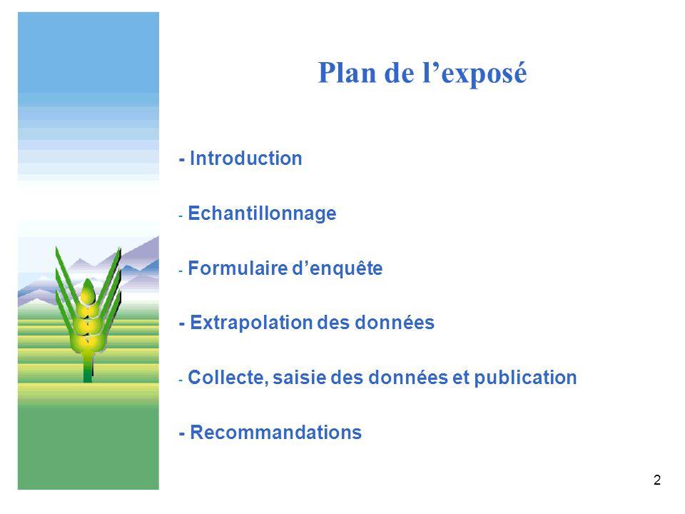 Plan de l'exposé - Introduction Echantillonnage Formulaire d'enquête