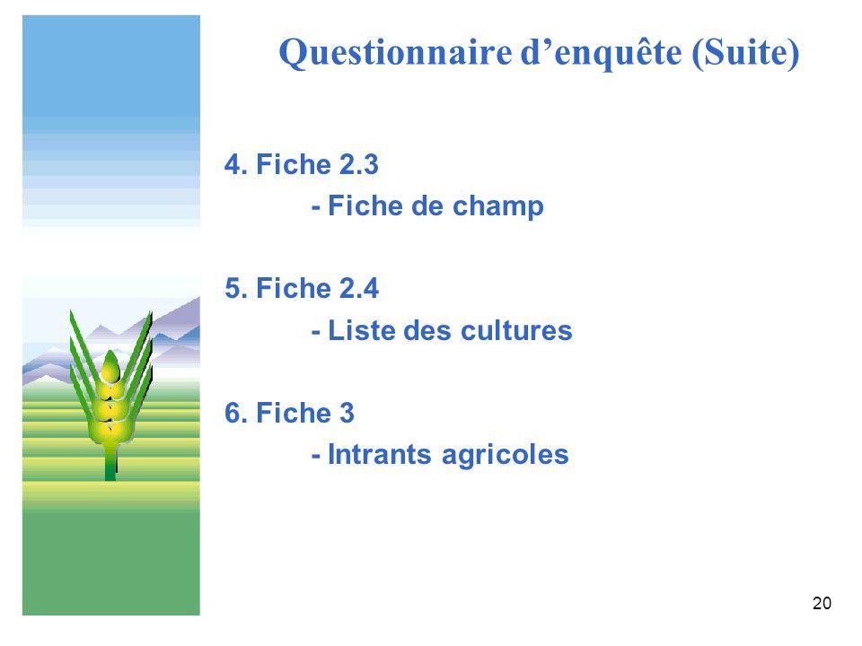 Questionnaire d'enquête (Suite)