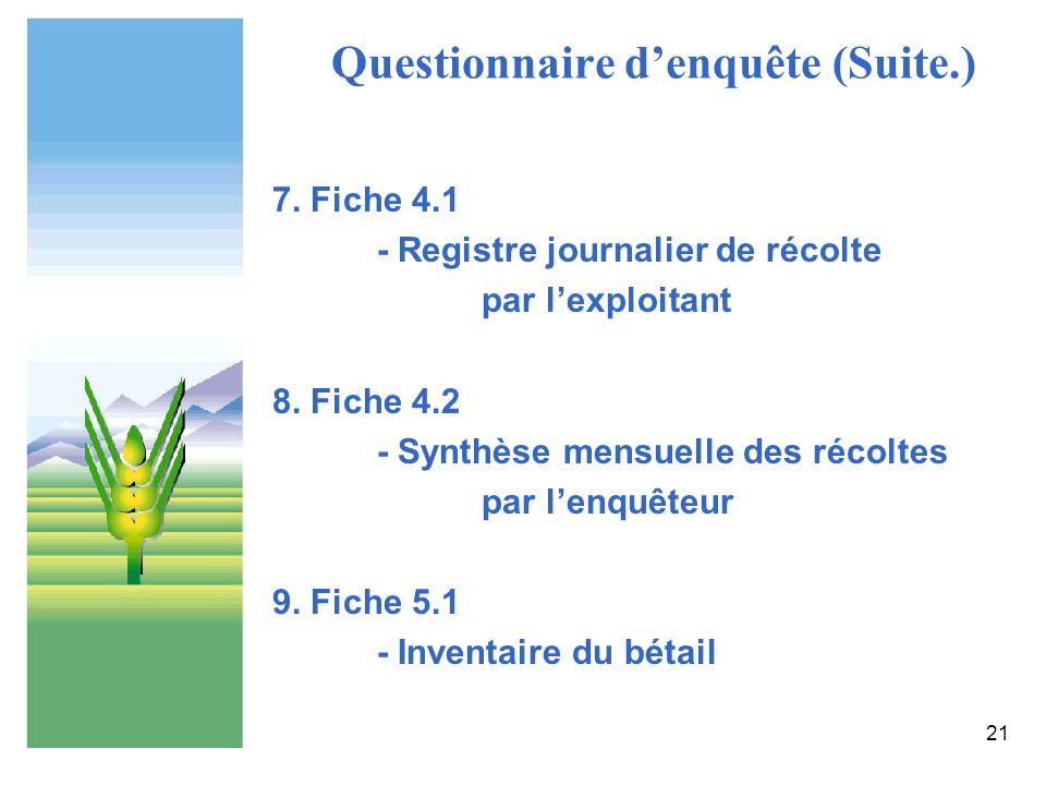 Questionnaire d'enquête (Suite.)