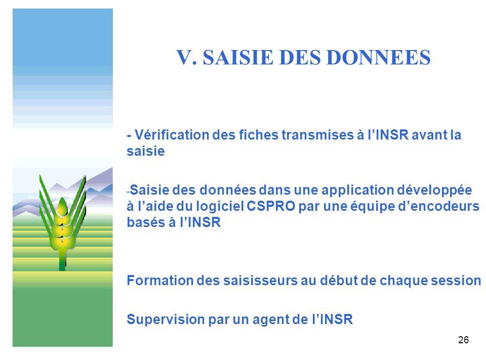 V. SAISIE DES DONNEES - Vérification des fiches transmises à l'INSR avant la saisie.