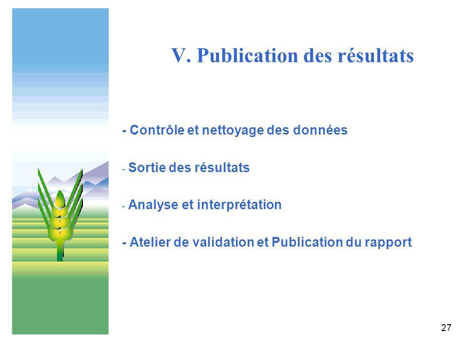 V. Publication des résultats