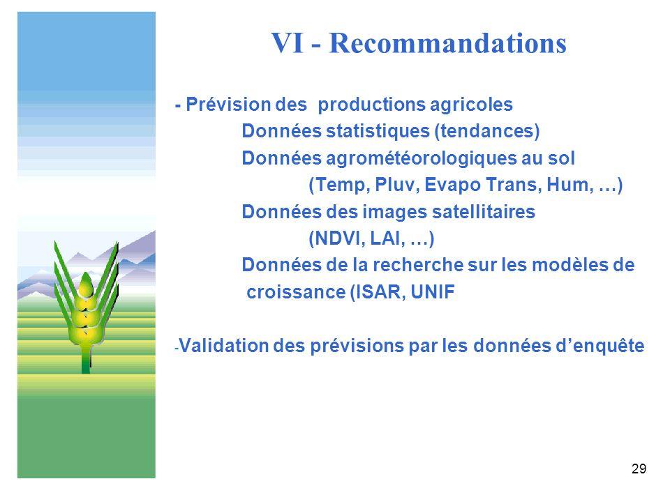VI - Recommandations - Prévision des productions agricoles