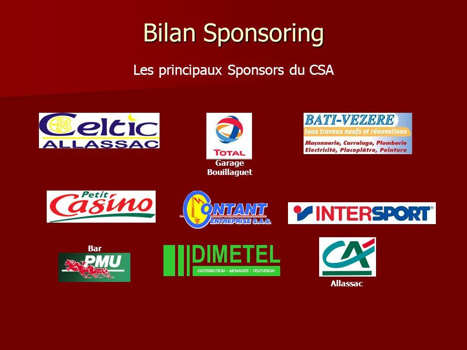 Bilan Sponsoring DIMETEL Les principaux Sponsors du CSA