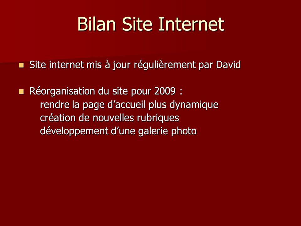 Bilan Site Internet Site internet mis à jour régulièrement par David