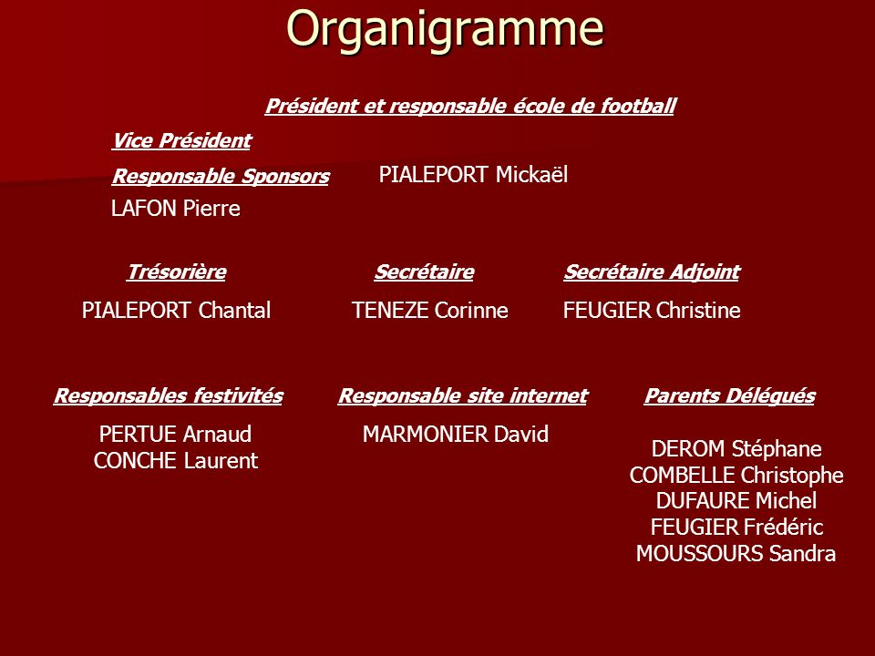 Organigramme PIALEPORT Mickaël LAFON Pierre PIALEPORT Chantal