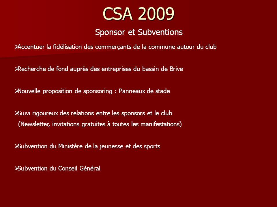 CSA 2009 Sponsor et Subventions