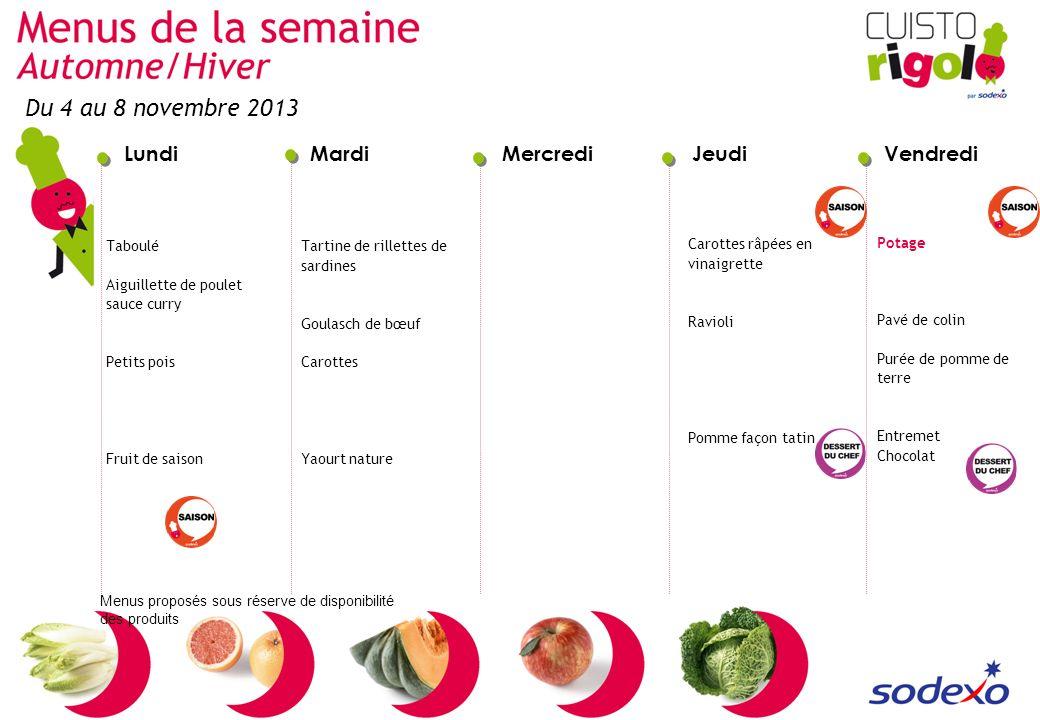 Du 4 au 8 novembre 2013 Taboulé Aiguillette de poulet sauce curry