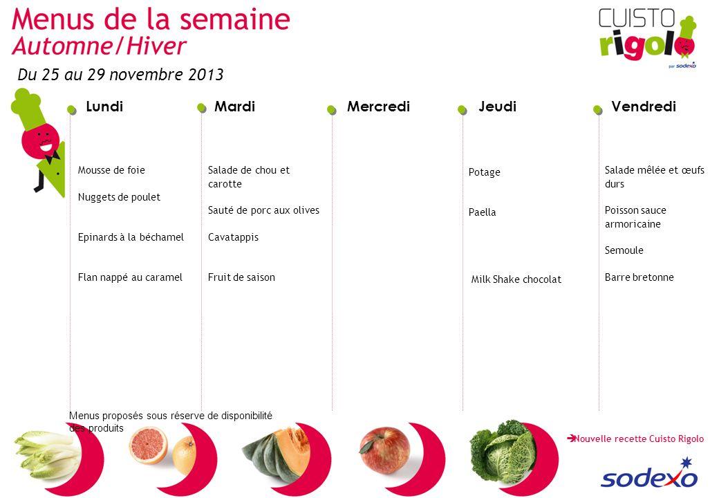 Du 25 au 29 novembre 2013 Mousse de foie Nuggets de poulet