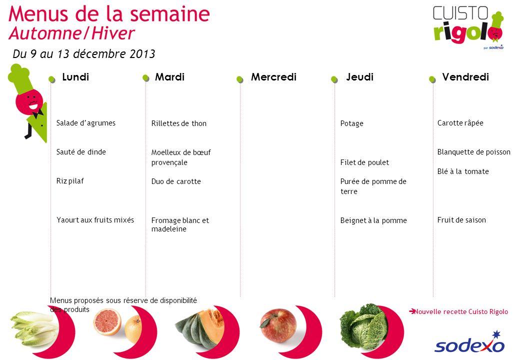 Du 9 au 13 décembre 2013 Salade d'agrumes Sauté de dinde Riz pilaf