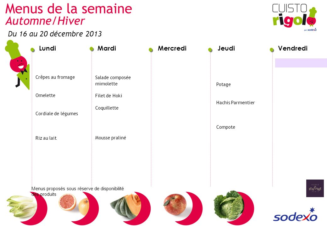 Du 16 au 20 décembre 2013 Crêpes au fromage Omelette