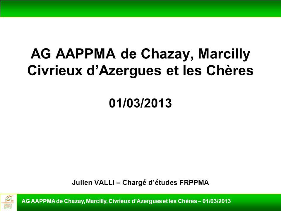 AG AAPPMA de Chazay, Marcilly Civrieux d'Azergues et les Chères 01/03/2013 Julien VALLI – Chargé d'études FRPPMA